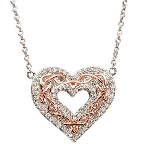 Sterling Silver Heart with Rose Gold Celtic Knotwork Pendant Embellished with Swarovski® White Crystals