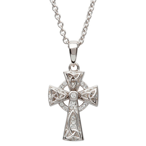Sterling Silver Solid Trinity Knot Celtic Cross Pendant Embellished with Swarovski® White Crystals