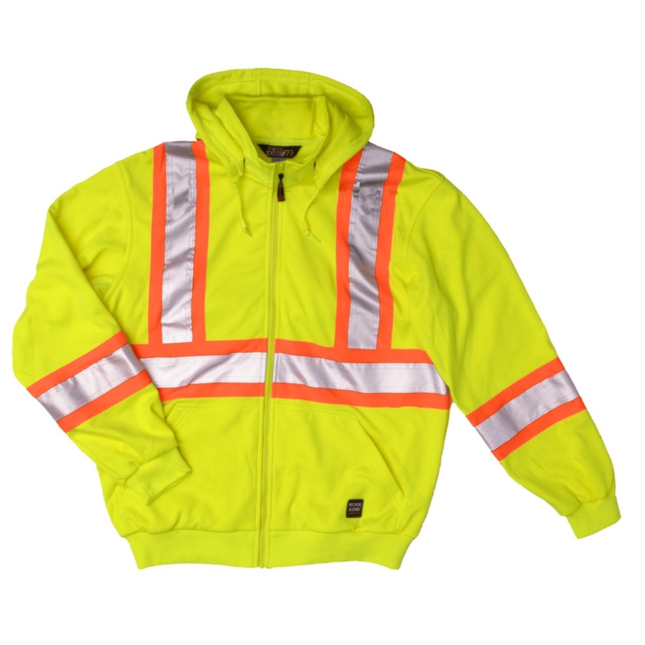Mens Hi Viz Vis Visibility Hooded Reflective Work Zip Fleece Sweatshirt Jacket