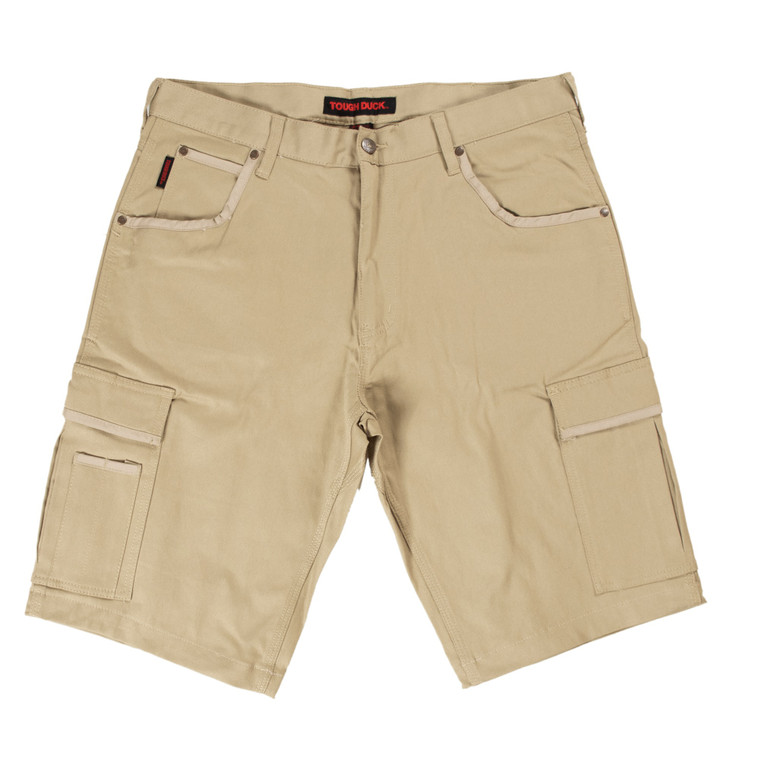 Khaki Flex Twill Cargo Shorts - ToughWorkz