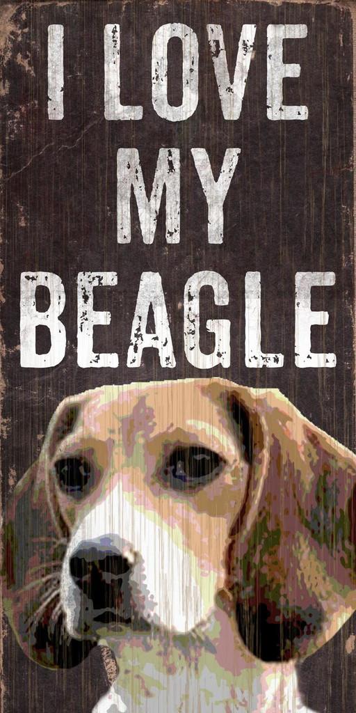 "Pet Sign Wood I Love My Beagle 5""x10"""