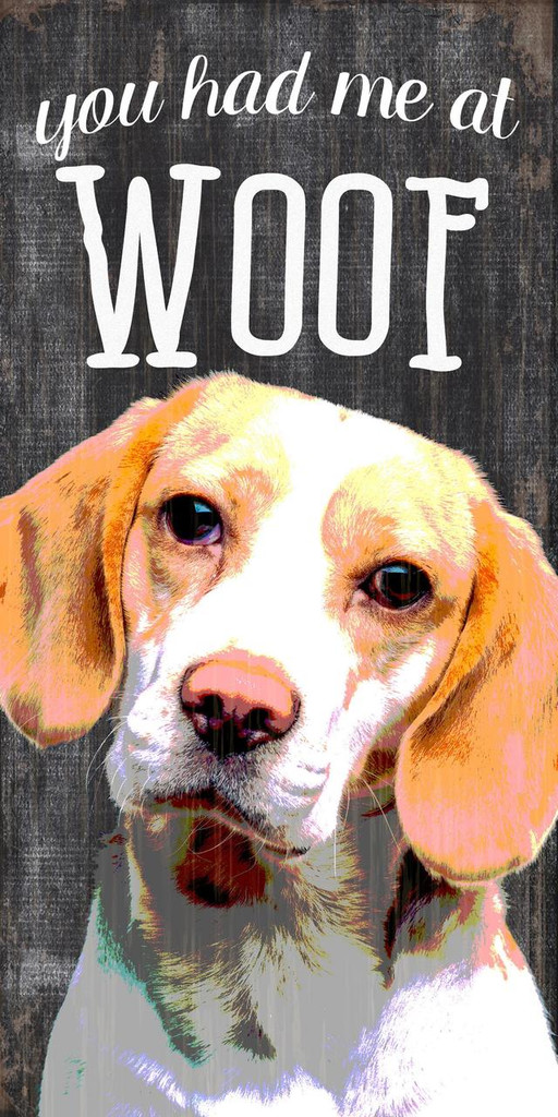 "Pet Sign Wood You Had Me At Woof Beagle 5""x10"""