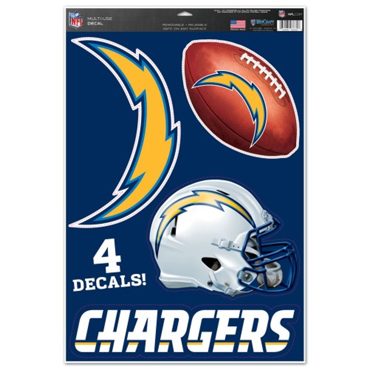 Los Angeles Chargers Decal 11x17 Multi Use Cut to Logo 4 Piece Special Order