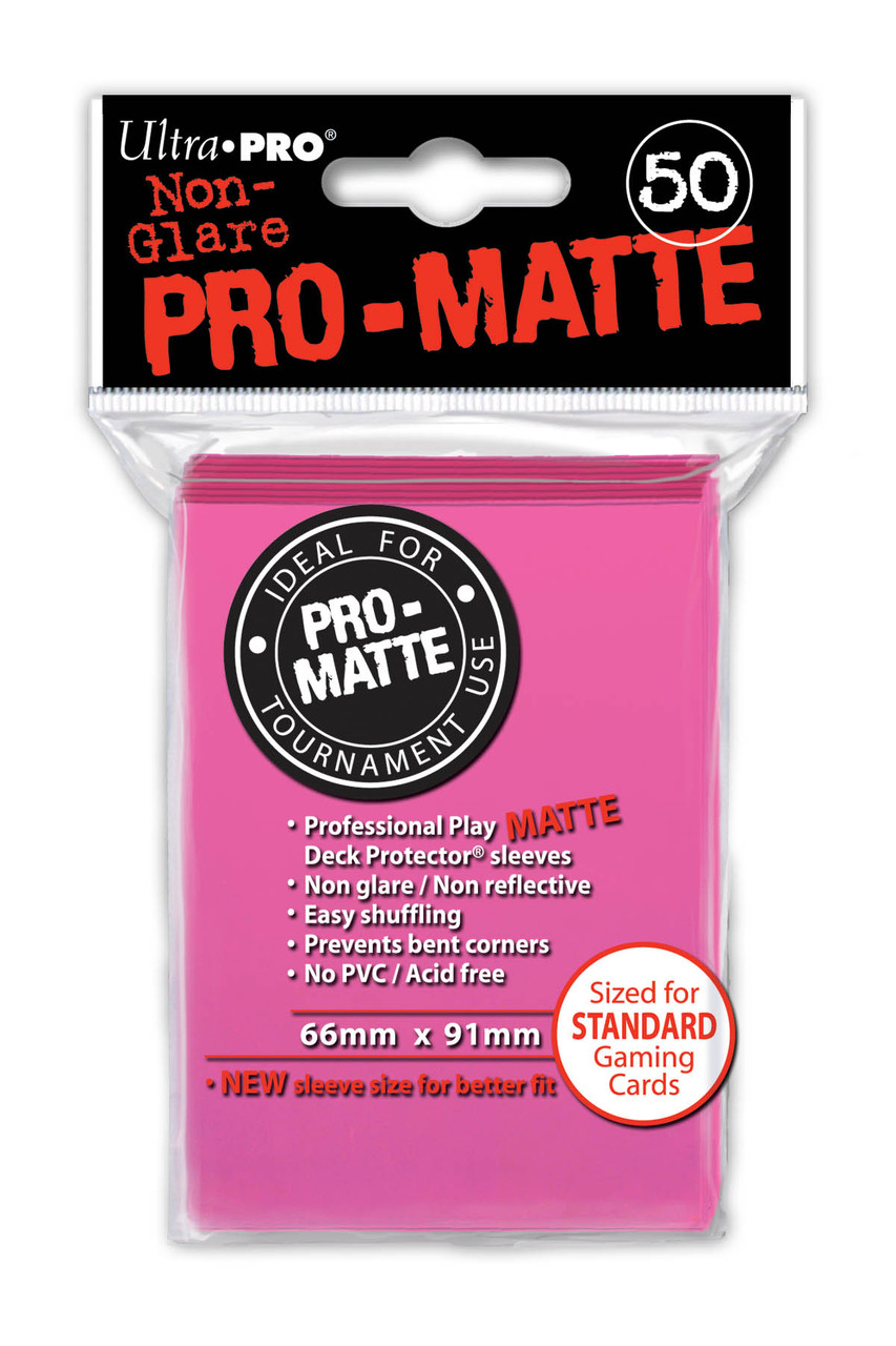 Deck Protectors - Pro-Matte - Bright Pink (One Pack of 50)