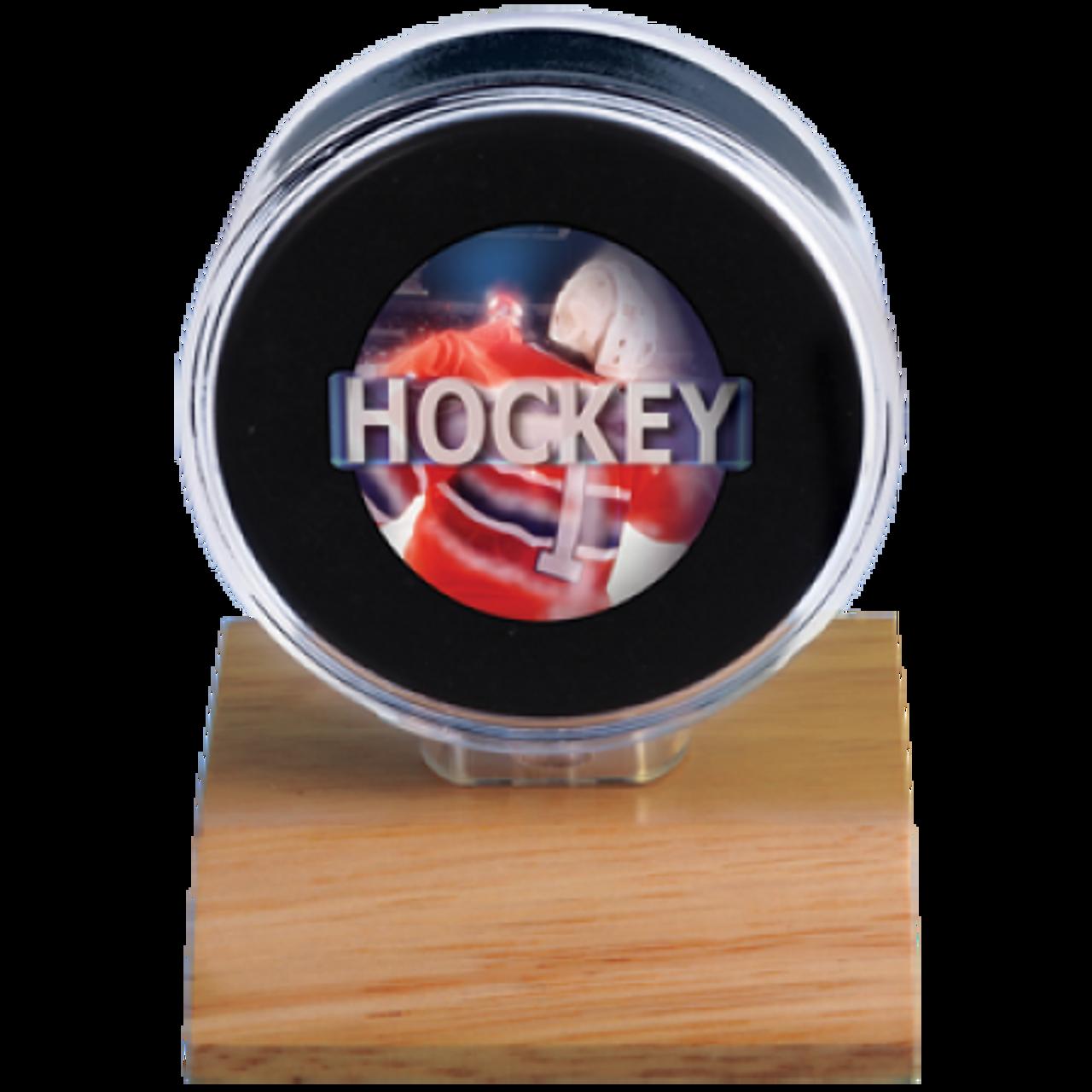 Hockey Puck Holder - Wood Base
