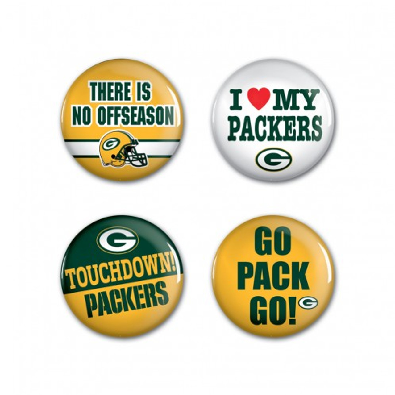 Green Bay Packers Buttons 4 Pack - Special Order