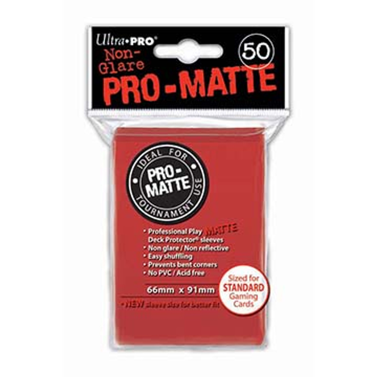 Deck Protectors - Pro-Matte - Red (One Pack of 50)