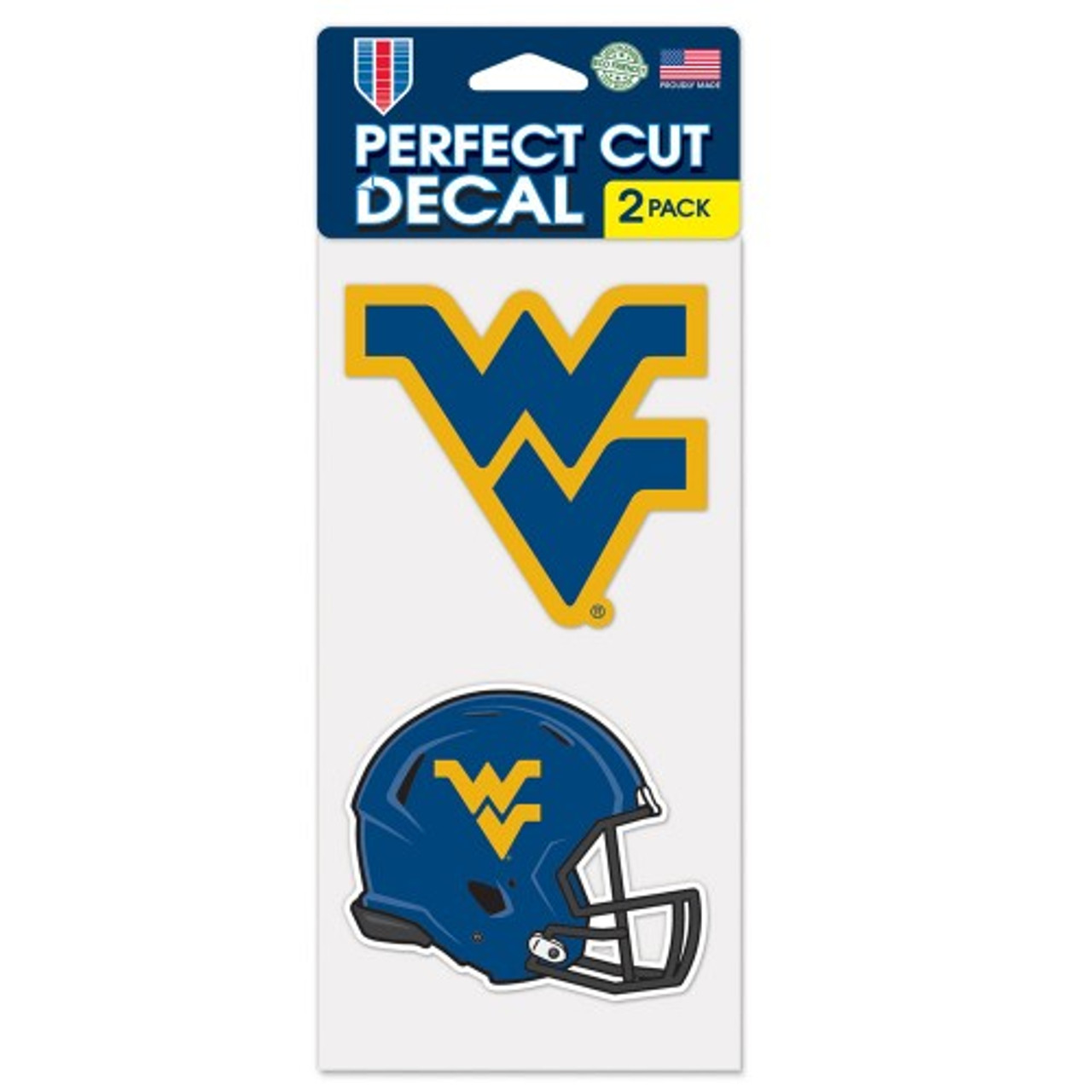 West Virginia Mountaineers Decal 4x4 Perfect Cut Set of 2 Alternate Design