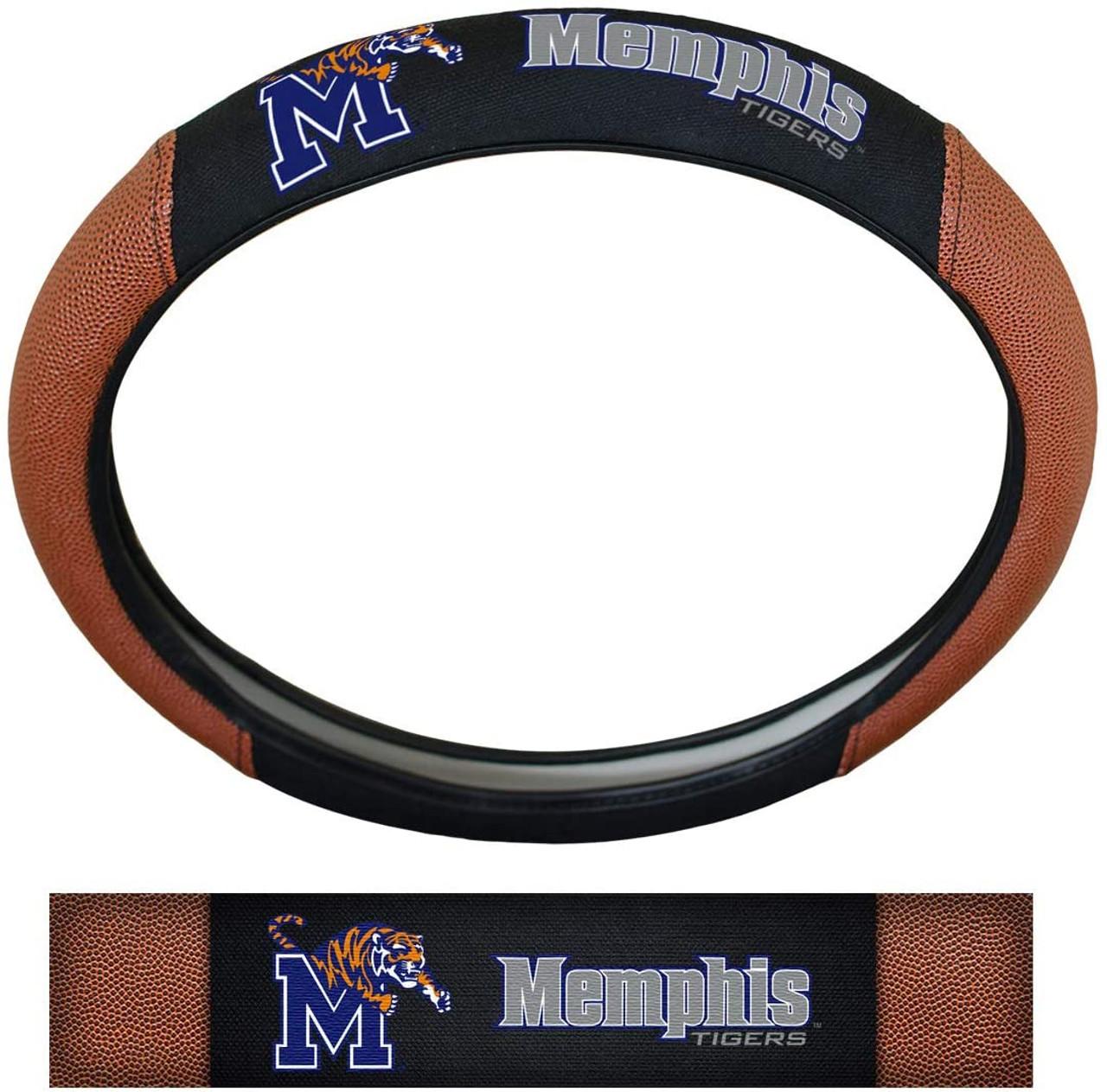 Memphis Tigers Steering Wheel Cover Premium Pigskin Style - Special Order