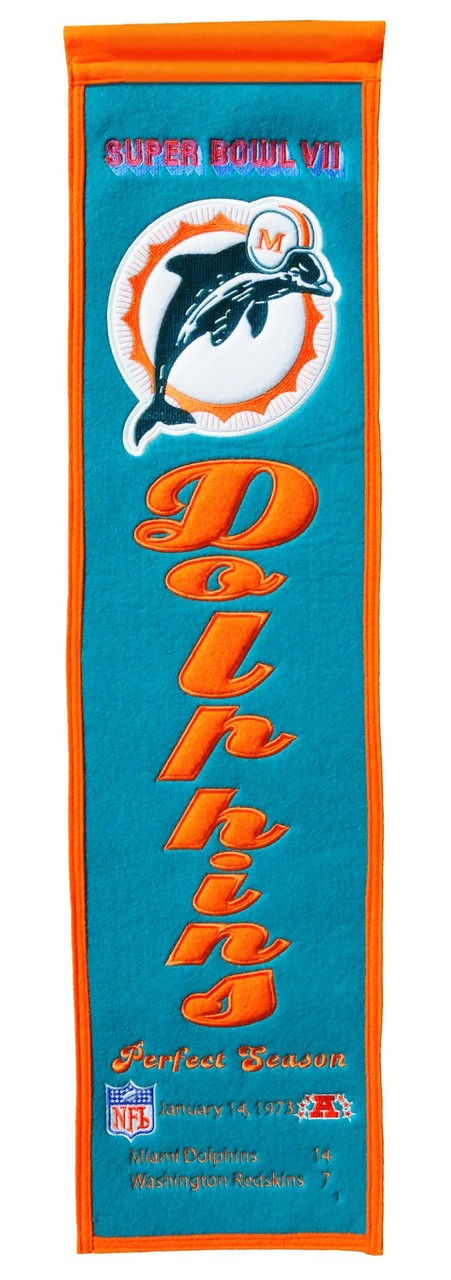 Miami Dolphins Banner 8x32 Wool Heritage Super Bowl 7
