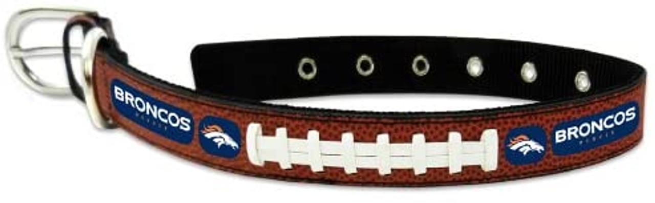 Denver Broncos Pet Collar Leather Classic Football Size Large Super Bowl 50 Champ