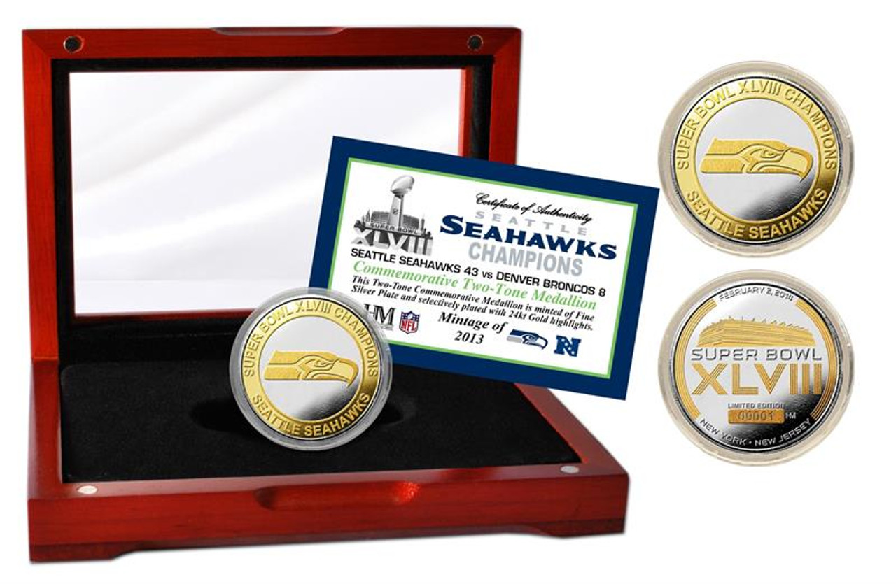 Seattle Seahawks Official 2-Tone Coin - Super Bowl 48