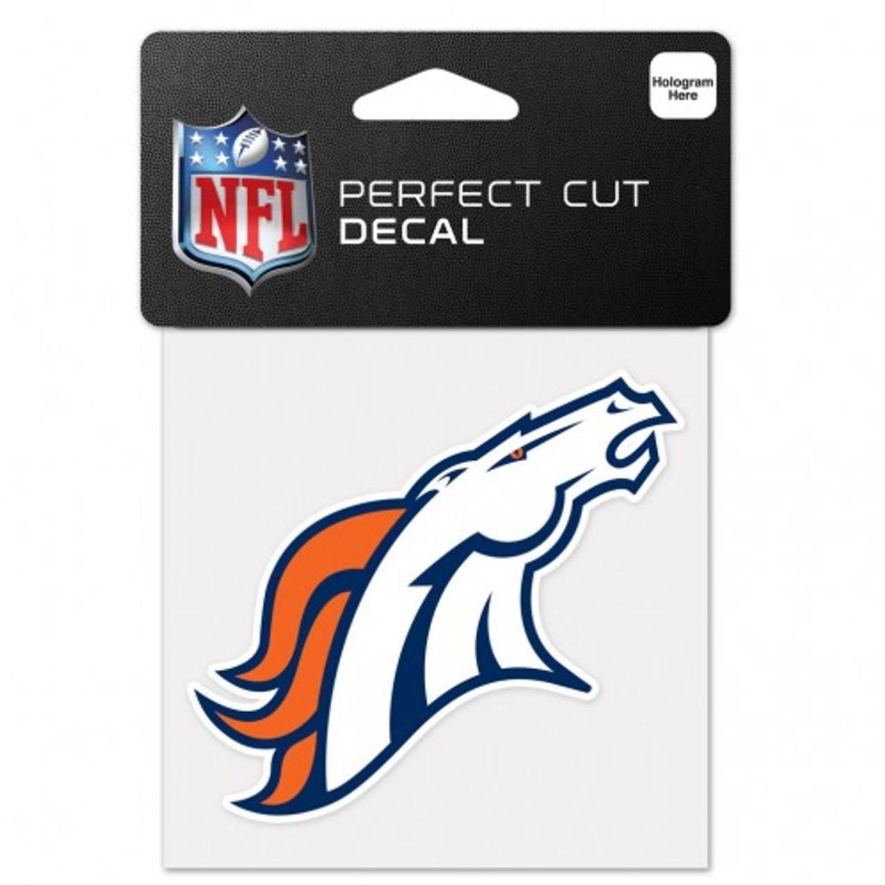 """NEW Denver Broncos White 4/""""x4/"""" Car Decal NFL Auto Sticker Emblem"""