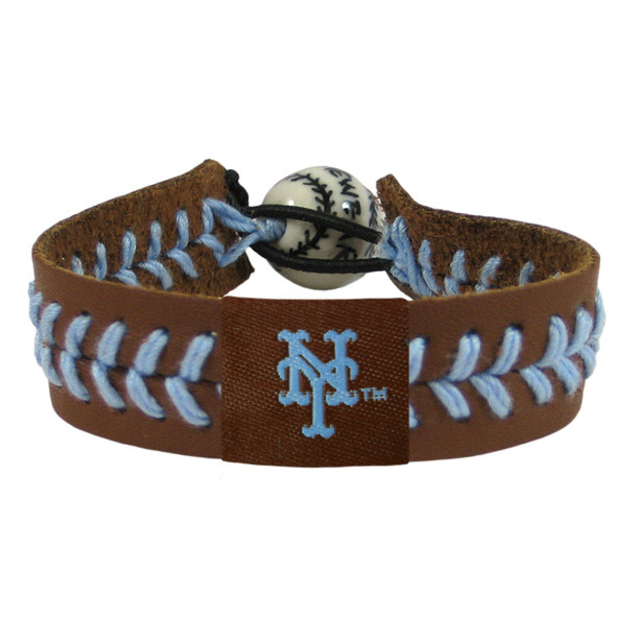 MLB Cleveland Indians Chief Wahoo Brown Leather//Powder Blue Thread Team Color Baseball Bracelet