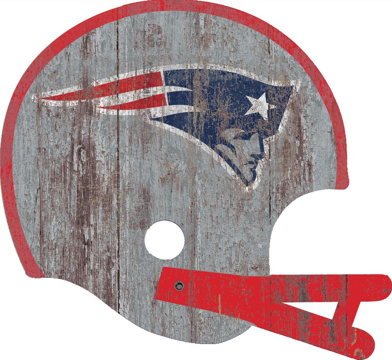 New England Patriots Sign Wood Large Helmet Style