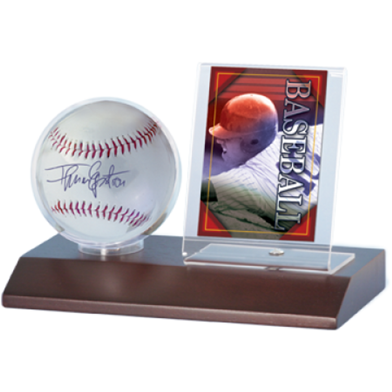 Wood Baseball & Card Holder - Dark Wood