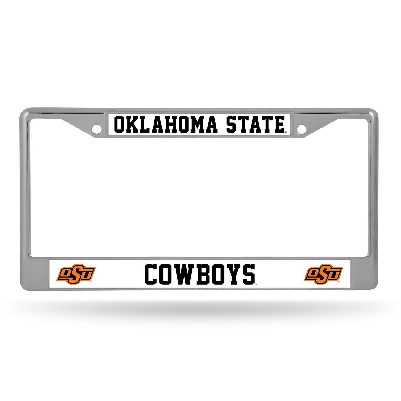 Oklahoma State Cowboys License Plate Frame Chrome Alternate Design
