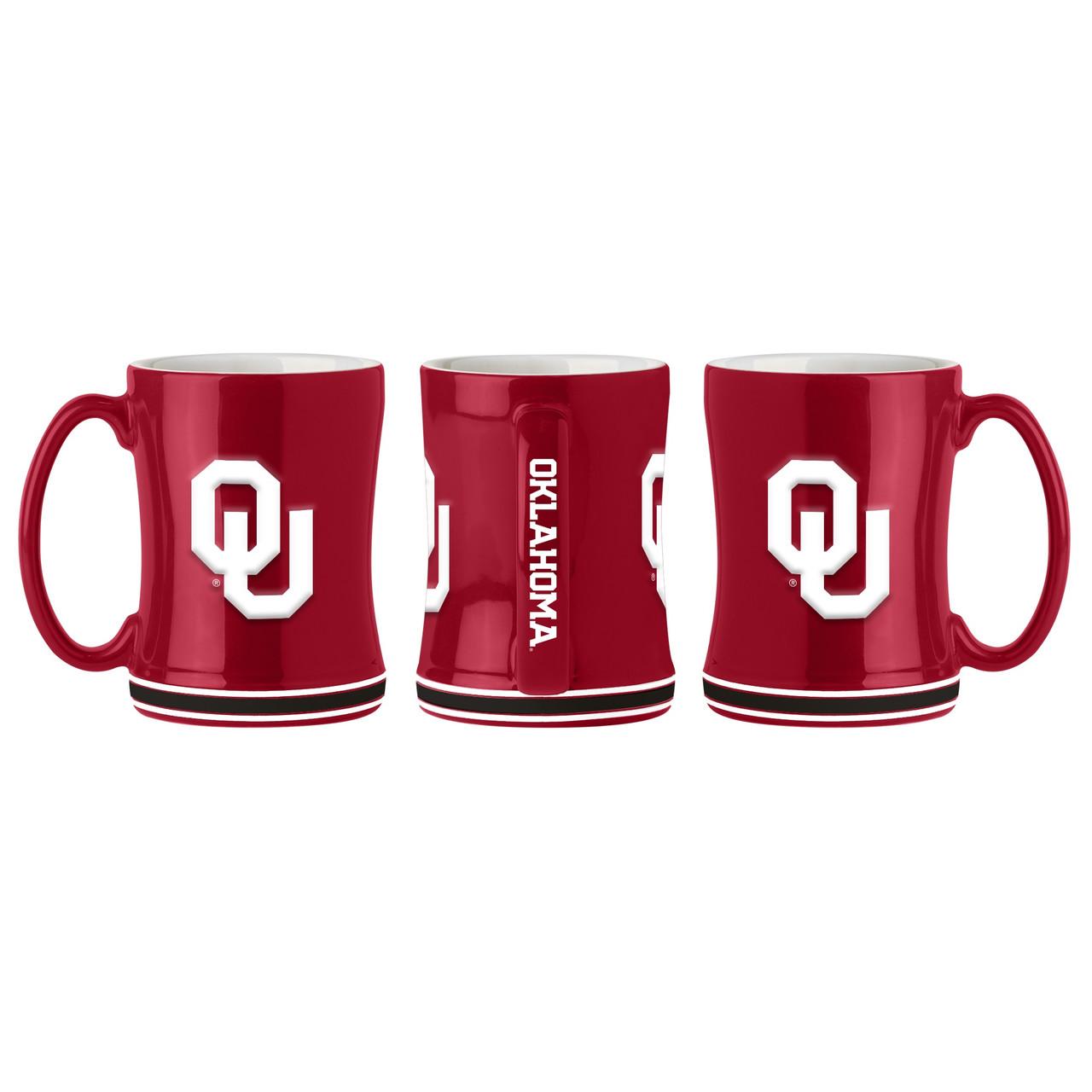 Oklahoma Sooners Coffee Mug 14oz Sculpted Relief