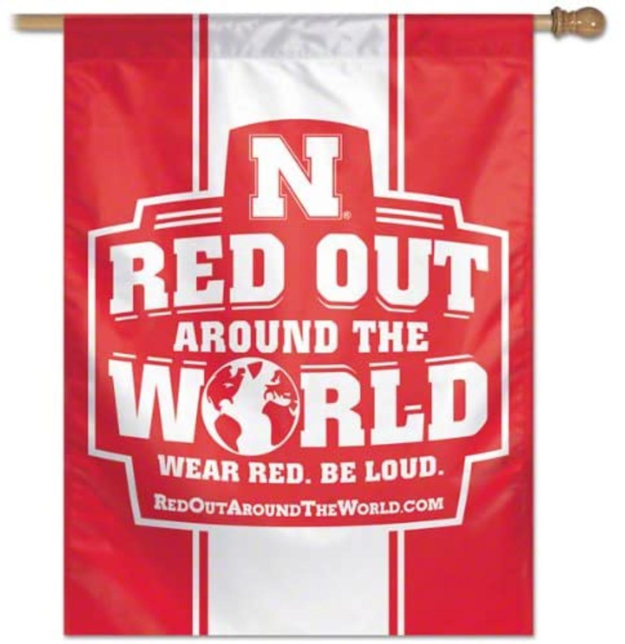 Nebraska Cornhuskers Banner 27x37 Vertical Red Out