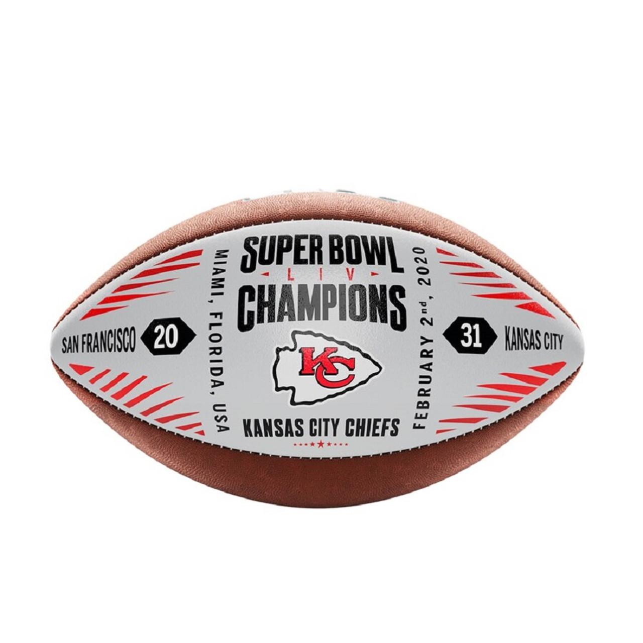 Kansas City Chiefs Football Metallic Leather Super Bowl 54 Champs