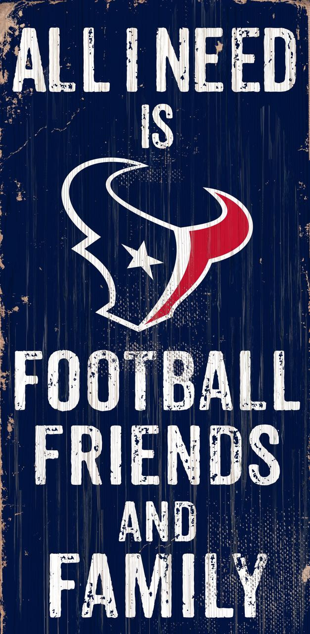 Houston Texans Sign Wood 6x12 Football Friends and Family Design Color - Special Order