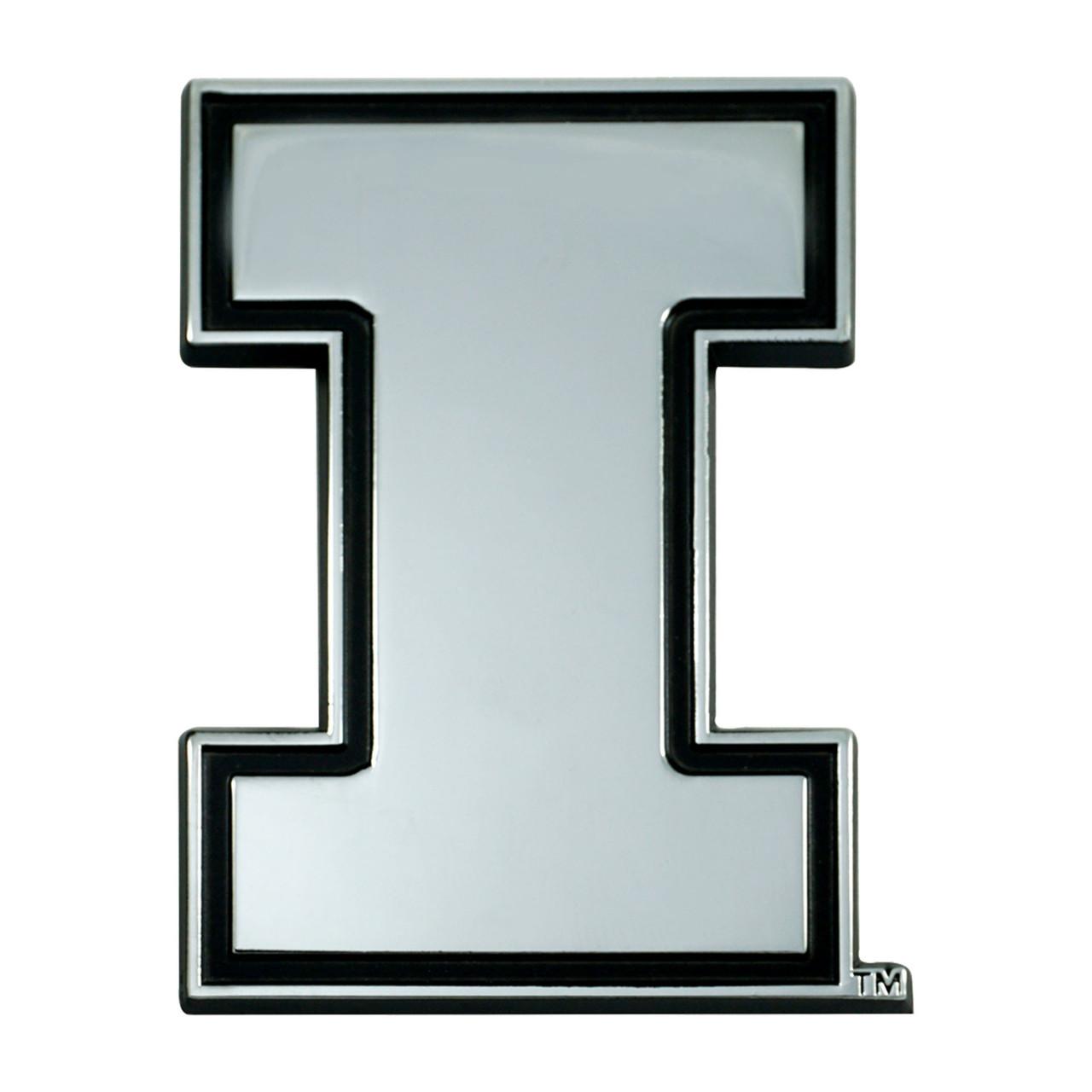 Illinois Fighting Illini Auto Emblem Premium Metal Chrome Special Order