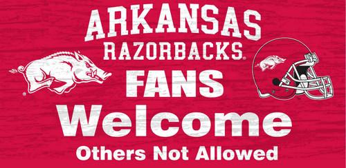 "Arkansas Razorbacks Wood Sign - Fans Welcome 12""x6"""