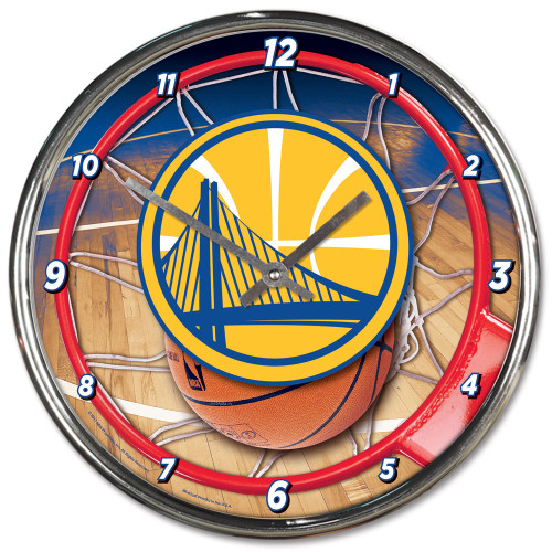 Golden State Warriors Clock Round Wall Style Chrome