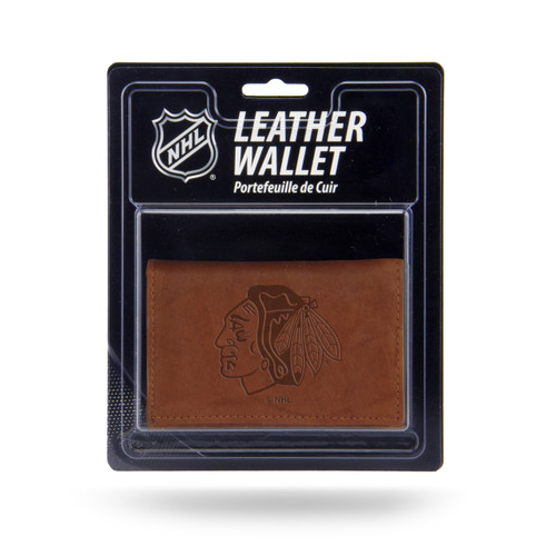 Chicago Blackhawks Wallet Trifold Leather Embossed