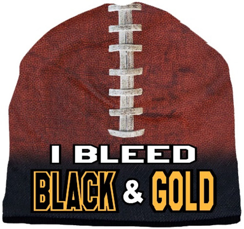 Beanie I Bleed Style Sublimated Football Black and Gold Design