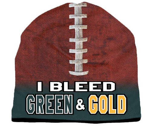 Beanie I Bleed Style Sublimated Football Forest Green and Gold Design