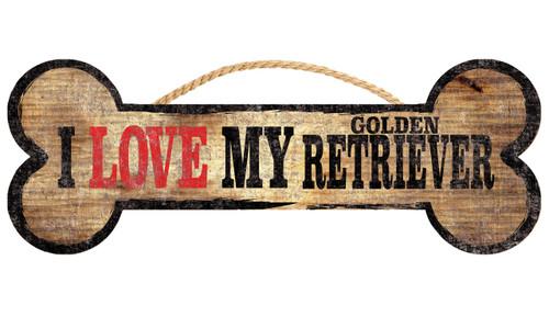 "Pet Sign Wood Dog Bone Shape I Love My Golden Retriever 10""x4"""