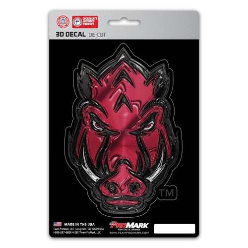 Arkansas Razorbacks Decal 5x8 Die Cut 3D Logo Design