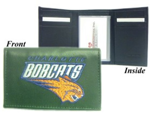 Charlotte Bobcats Wallet Trifold Embroidered Leather