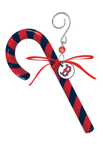 Boston Red Sox Ornament Clay Dough Candy Cane Design
