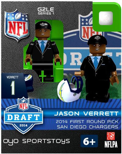 Los Angeles Chargers Figurine 2014 Draft Pick OYO Sportstoys Jason Verrett San Diego Throwback