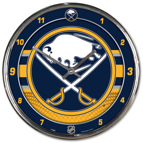 Buffalo Sabres Clock Round Wall Style Chrome