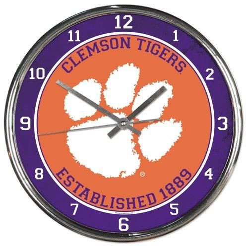 Clemson Tigers Clock Round Wall Style Chrome