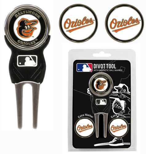 Baltimore Orioles Golf Divot Tool with 3 Markers