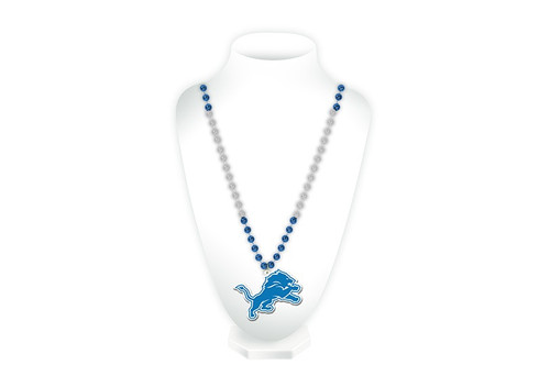 Detroit Lions Beads with Medallion Mardi Gras Style