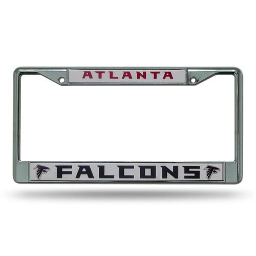 Atlanta Falcons License Plate Frame Chrome Silver/White Insert