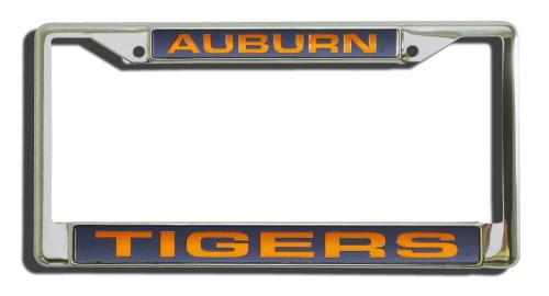 Auburn Tigers License Plate Frame Laser Cut Chrome