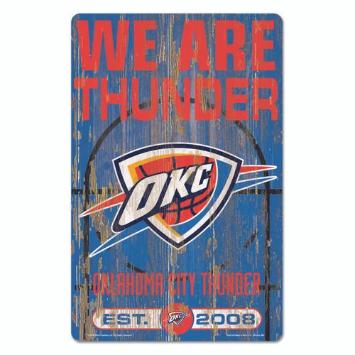 Oklahoma City Thunder Sign 11x17 Wood Slogan Design