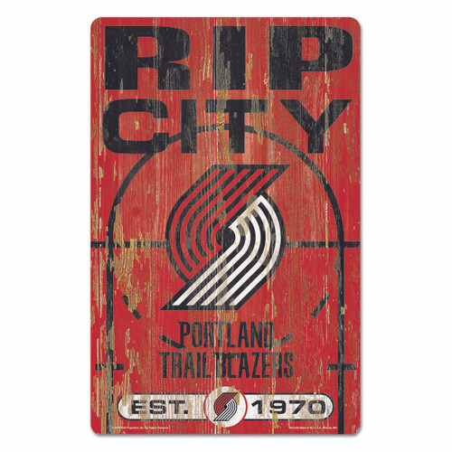 Portland Trail Blazers Sign 11x17 Wood Slogan Design