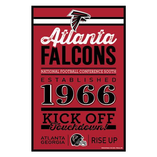 Atlanta Falcons Sign 11x17 Wood Established Design