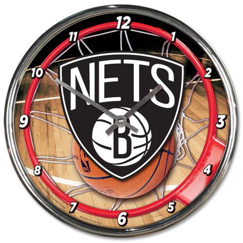 Brooklyn Nets Clock Round Wall Style Chrome