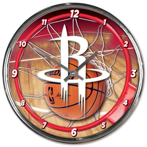 Houston Rockets Clock Round Wall Style Chrome