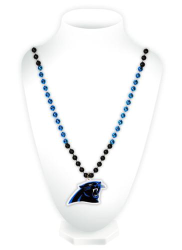 Carolina Panthers Beads with Medallion Mardi Gras Style