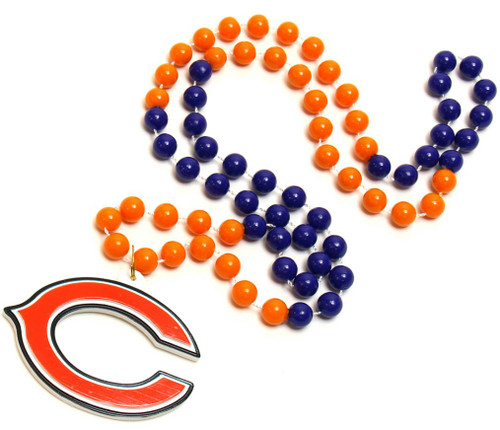 Chicago Bears Beads with Medallion Mardi Gras Style
