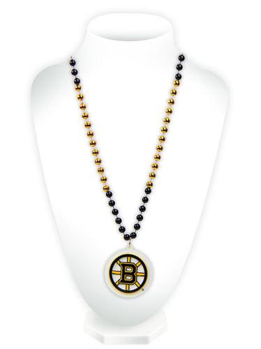 Boston Bruins Beads with Medallion Mardi Gras Style